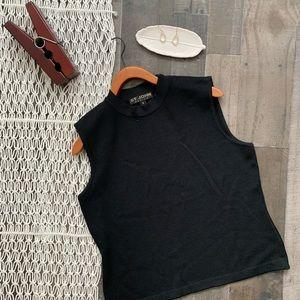 St. John Santana Knit Mock-Neck Wool-Blend Shell